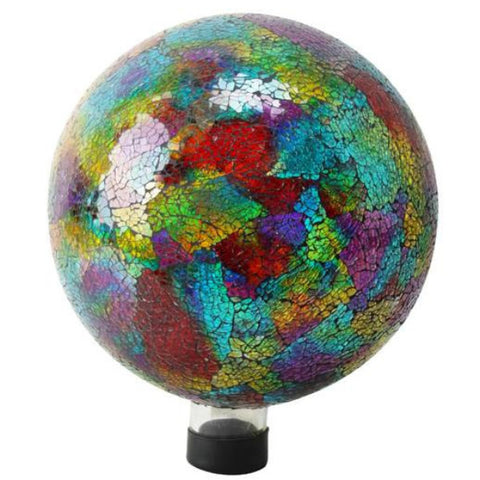 "10"" BRITE MOSAIC GLASS GAZING BALL"