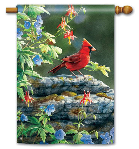CARDINAL PERCH ART FLAG