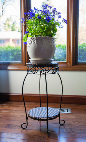 Double Resin Wicker Plant Stand