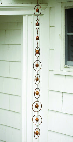 Ancient Graffiti Bell Rain Chain - Copper