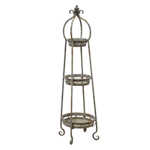 Antique Metal 3-Tier Plant Stand
