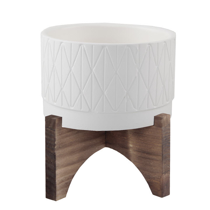 Diamond Planter with Stand Matte White