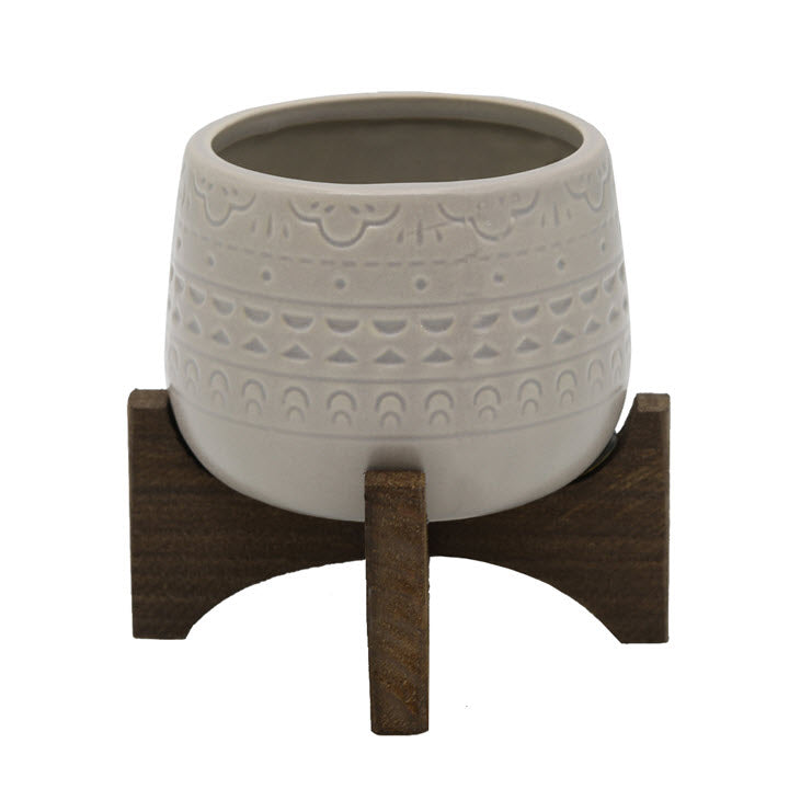 Mayan Planter with Stand Matte Grey