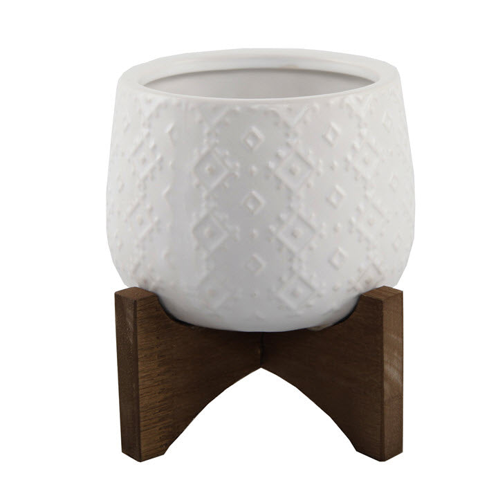 Indian Planter with Stand Matte White