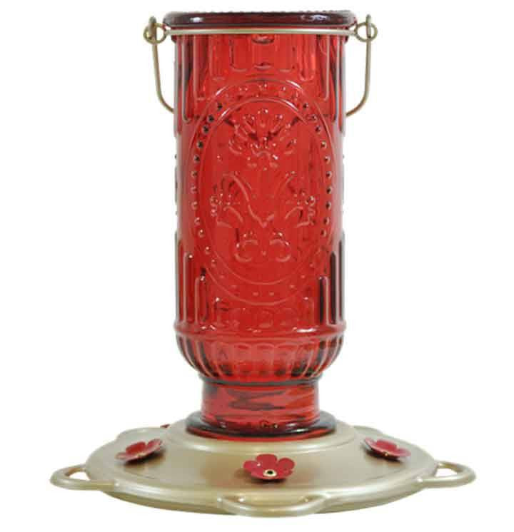 Red Vintage Hummingbird Feeder