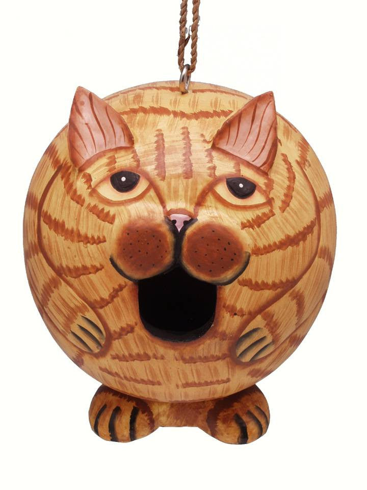 Orange Cat Birdhouse