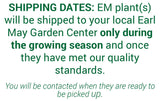 Shipping Dates:  EM plants will be shipped to your local Earl May Garden Center only during the growing season and once they have met our quality standards. You will be contacted when they are ready to be picked up.
