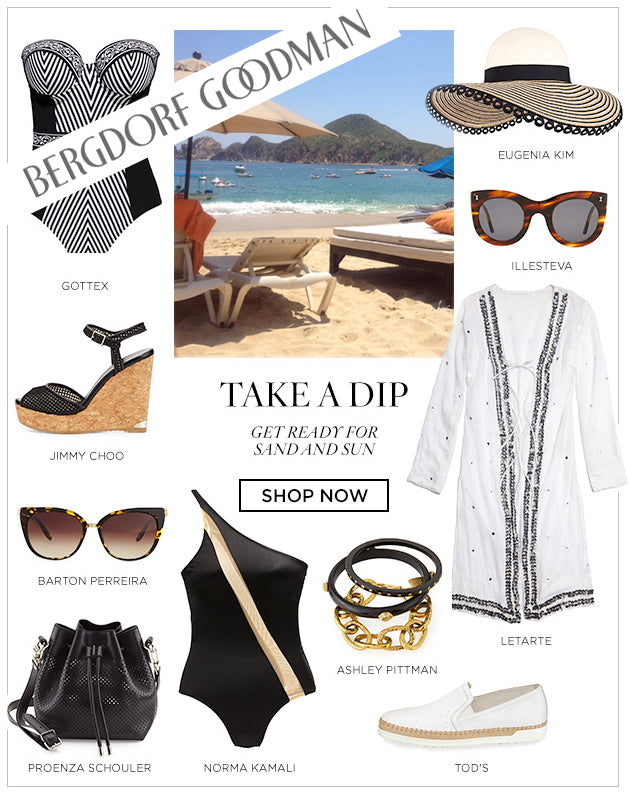 Letarte tunic featured in Bergdorf Goodman's getaway style guide.  Shop for swimwear, bikinis, tunics, cover-ups and more from Letarte.