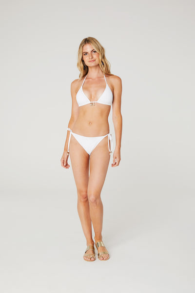Palm Lace Tie Bikini Bottom With Shell
