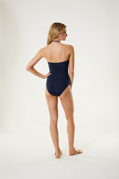 Twist Front Ruched Bandeau One Piece
