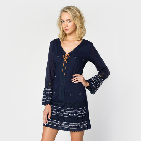 Long Sleeve Lace Front Dress