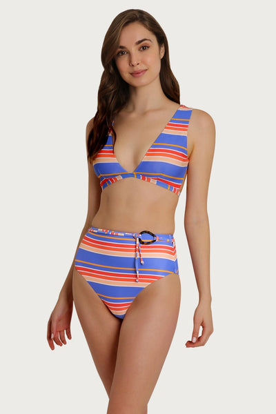 Anguilla Striped High Waisted Bikini Bottom