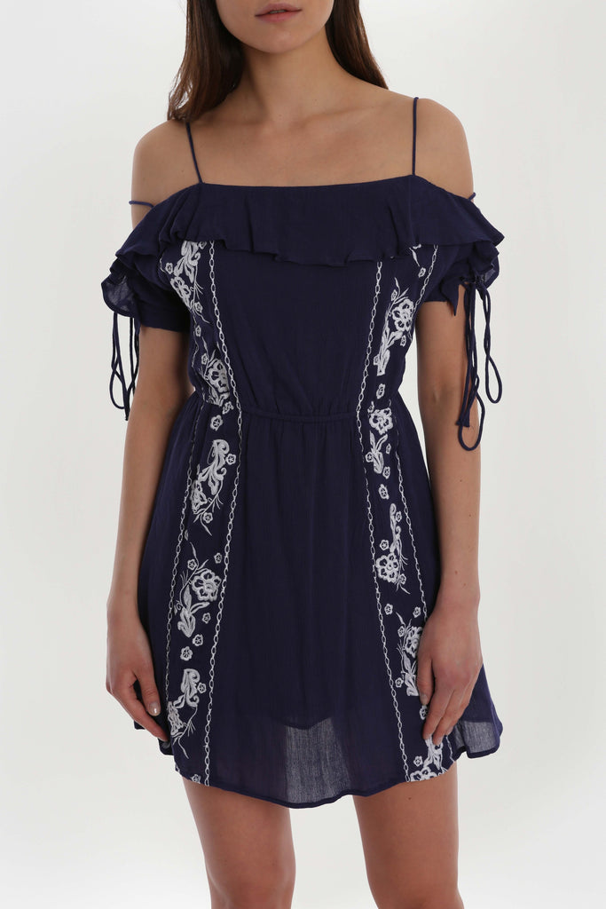 Lace Up Embroidered Dress