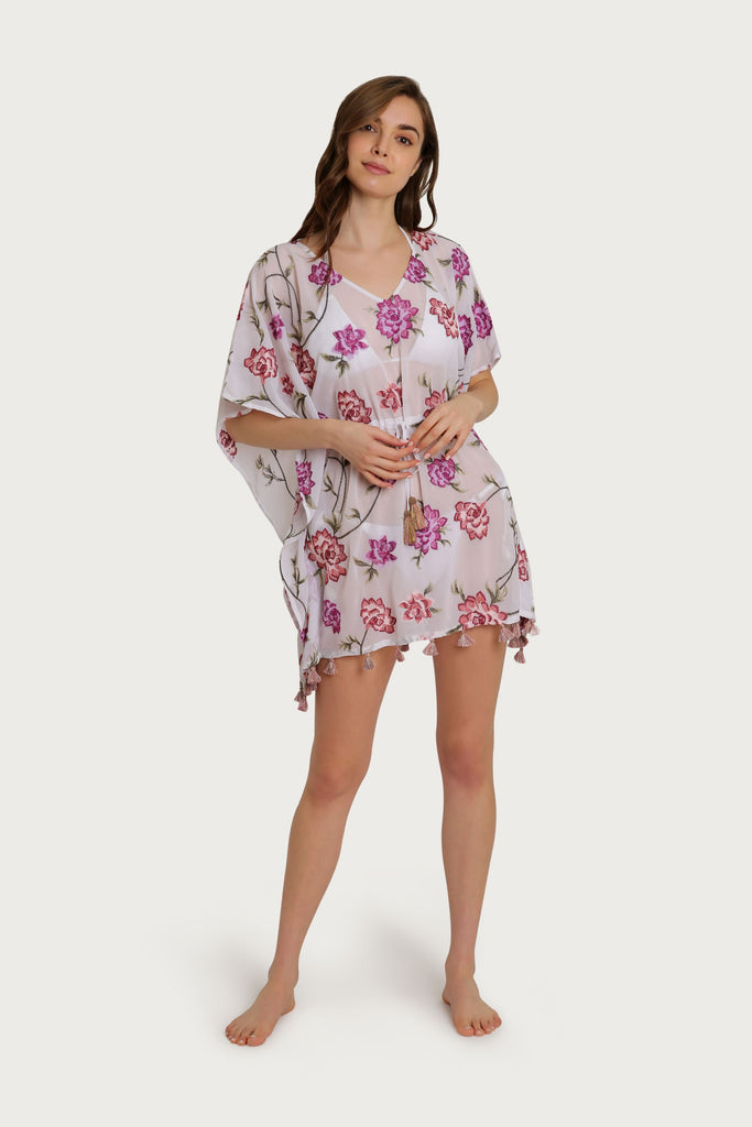 Darby Tie Waist Embroidered Coverup
