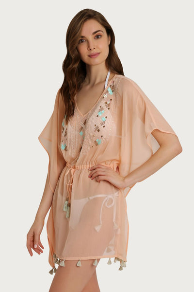 Darby Tie Waist Beaded Peach Coverup