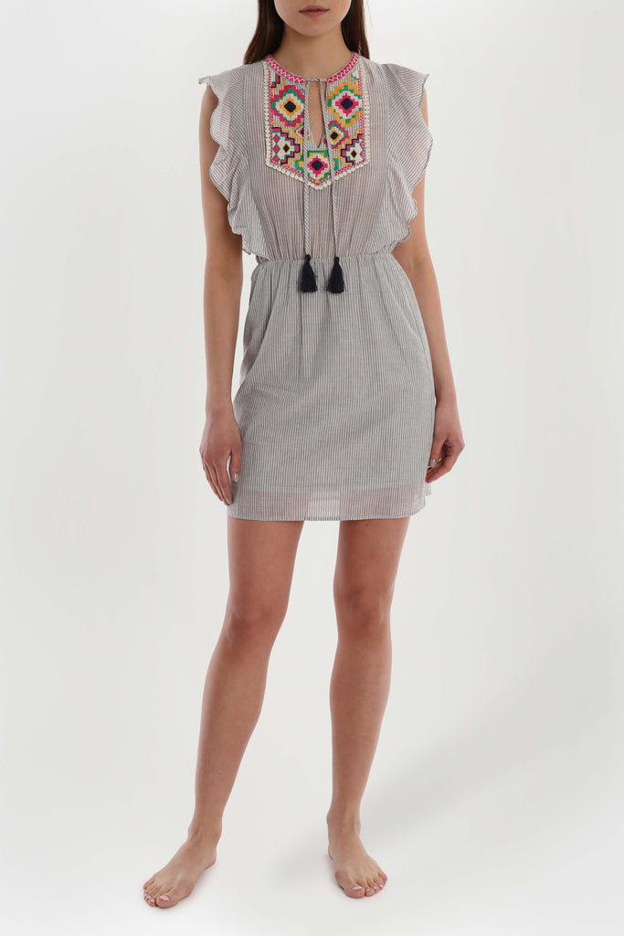 Aztec Embroidered Dress