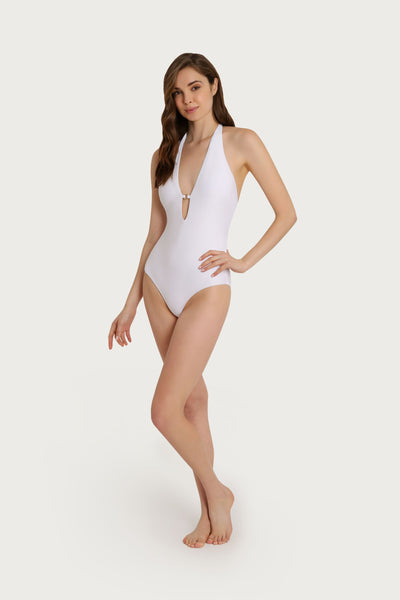 Nantucket Palm Lace Halter One Piece