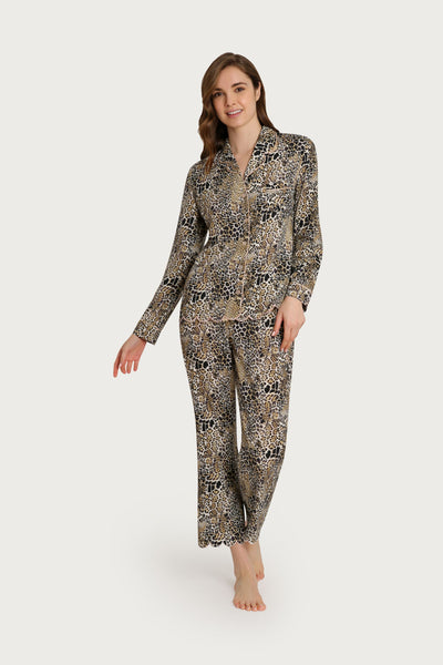 Leopard Scalloped Pajama Set