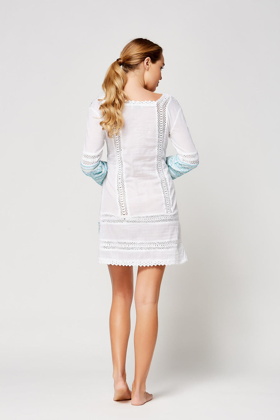 Embroidered Long Sleeve Tunic Dress