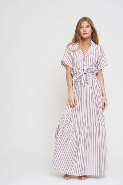Striped Alice Tiered Maxi Skirt