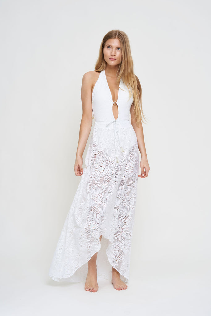 Palm Lace Maxi Beach Skirt