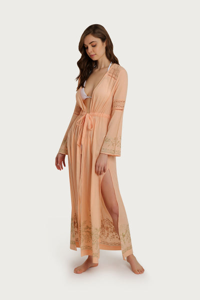 Mallorca Embroidered Tie Waist Maxi Coverup