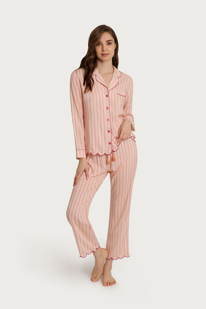 Striped Scalloped Pajama Set