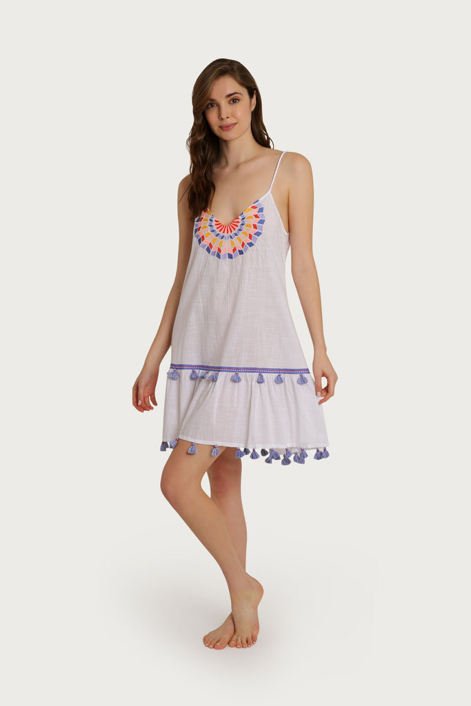 Sorrento Embroidered Tassel Tank Dress