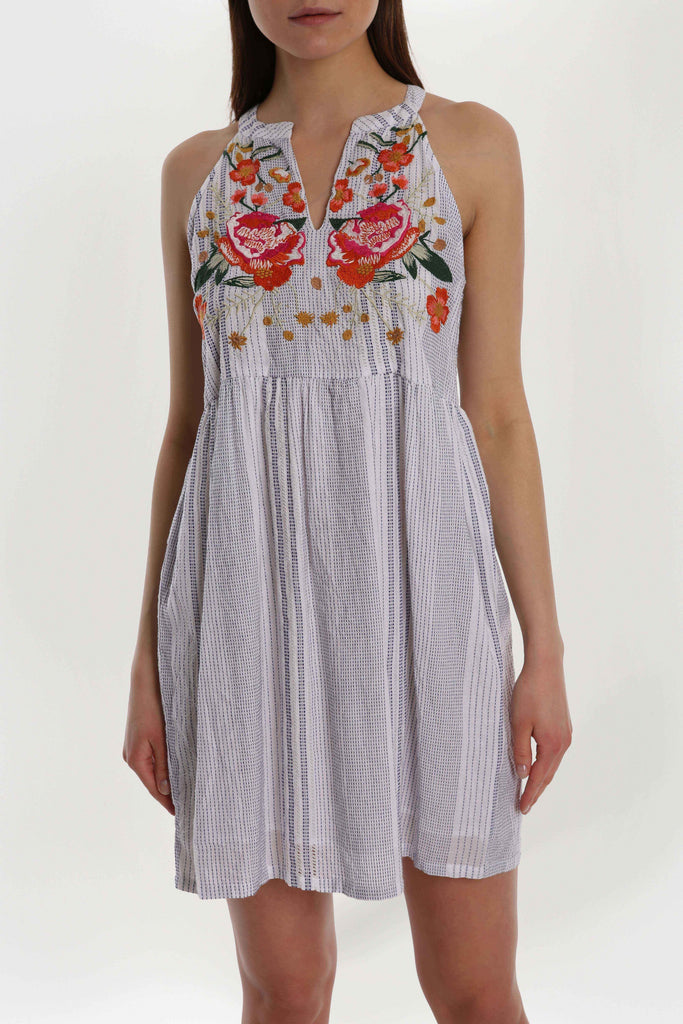 Rose Embroidered Mini Dress