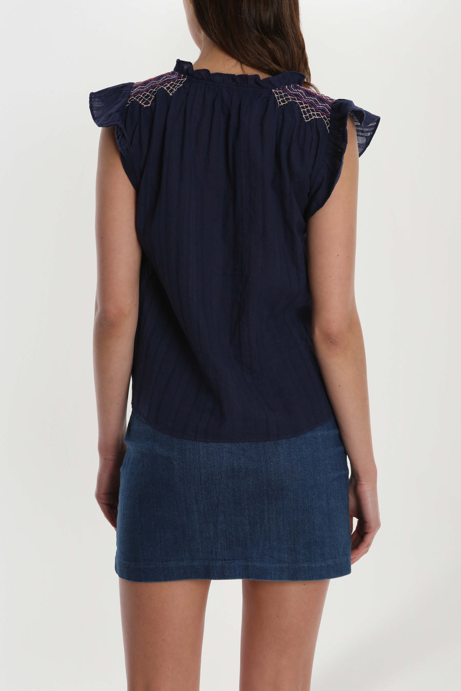 Smocked Shoulder Popover Top