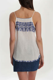 Embroidered Tassel Tank
