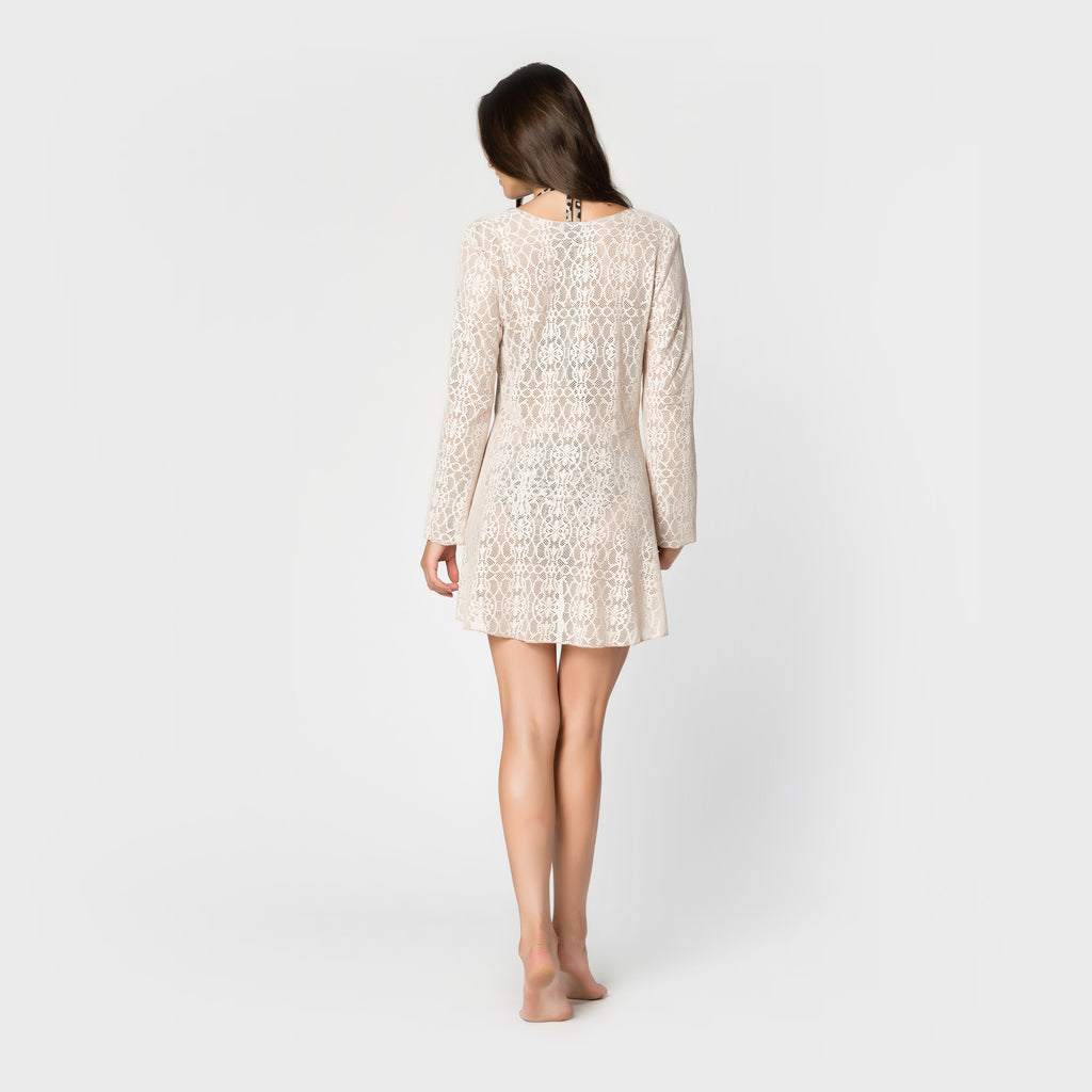 Lace Tie-Front Swing Coat