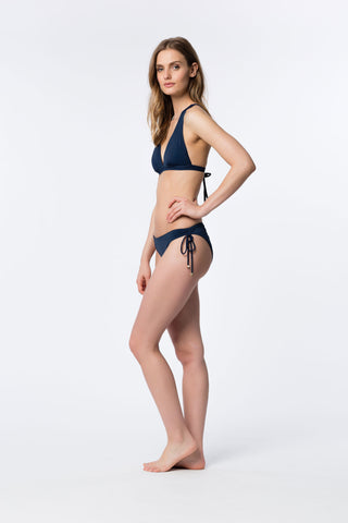 Navy Ruched Tie-Side Bottom