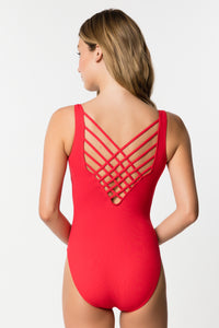 Lattice Back One-Piece Swimsuit