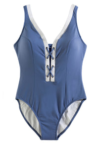 Lace-Front One Piece Swimsuit