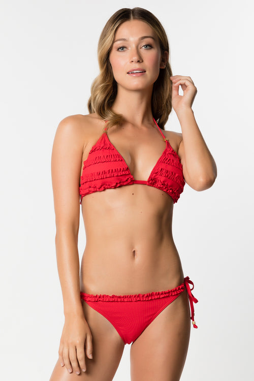 Ruffled Triangle Bikini Top