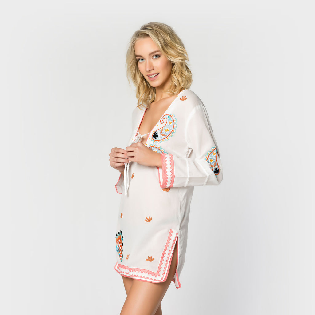 Photo of the side of a pullover tunic from Letarte.  Letarte sells bikinis, swimwear, cover-ups and other resort fashions.