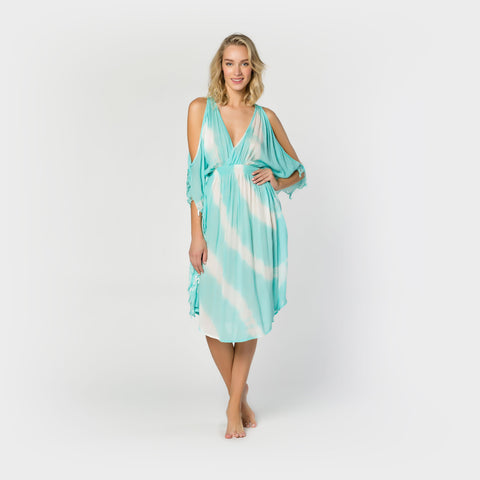 Open Shoulder Tie Dye Dress