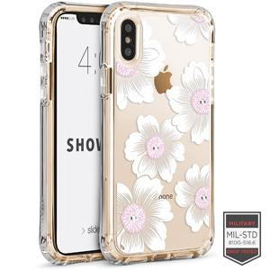 IPHONE X/XS - SHOWCASE CLEAR FLORAL CAMELLIA WITH CYRSTALS 40-0009003 - Accesorios y repuestos Celular Cellairis