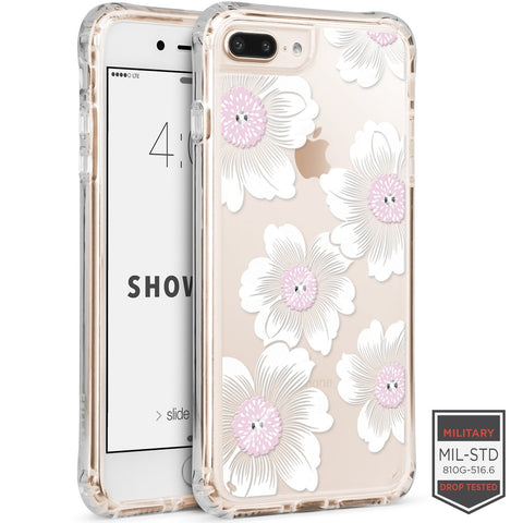 IPHONE 7 PLUS /8 PLUS - SHOWCASE CLEAR FLORAL CAMELLIA WITH CYRSTAL 40-0012003 - Accesorios y repuestos Celular Cellairis