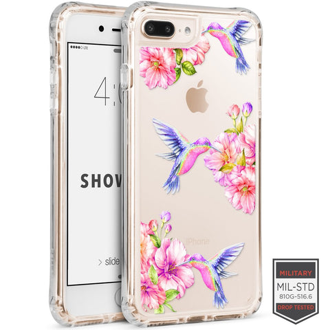IPHONE 7 PLUS /8 PLUS - SHOWCASE CLEAR FLORAL HUMMINGBIRD 40-0012007 - Accesorios y repuestos Celular Cellairis
