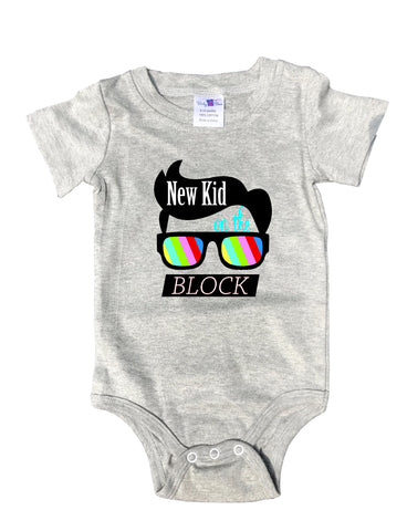"Adorable Baby Tee Time ""New kid on the block"" popular Baby Onesie"