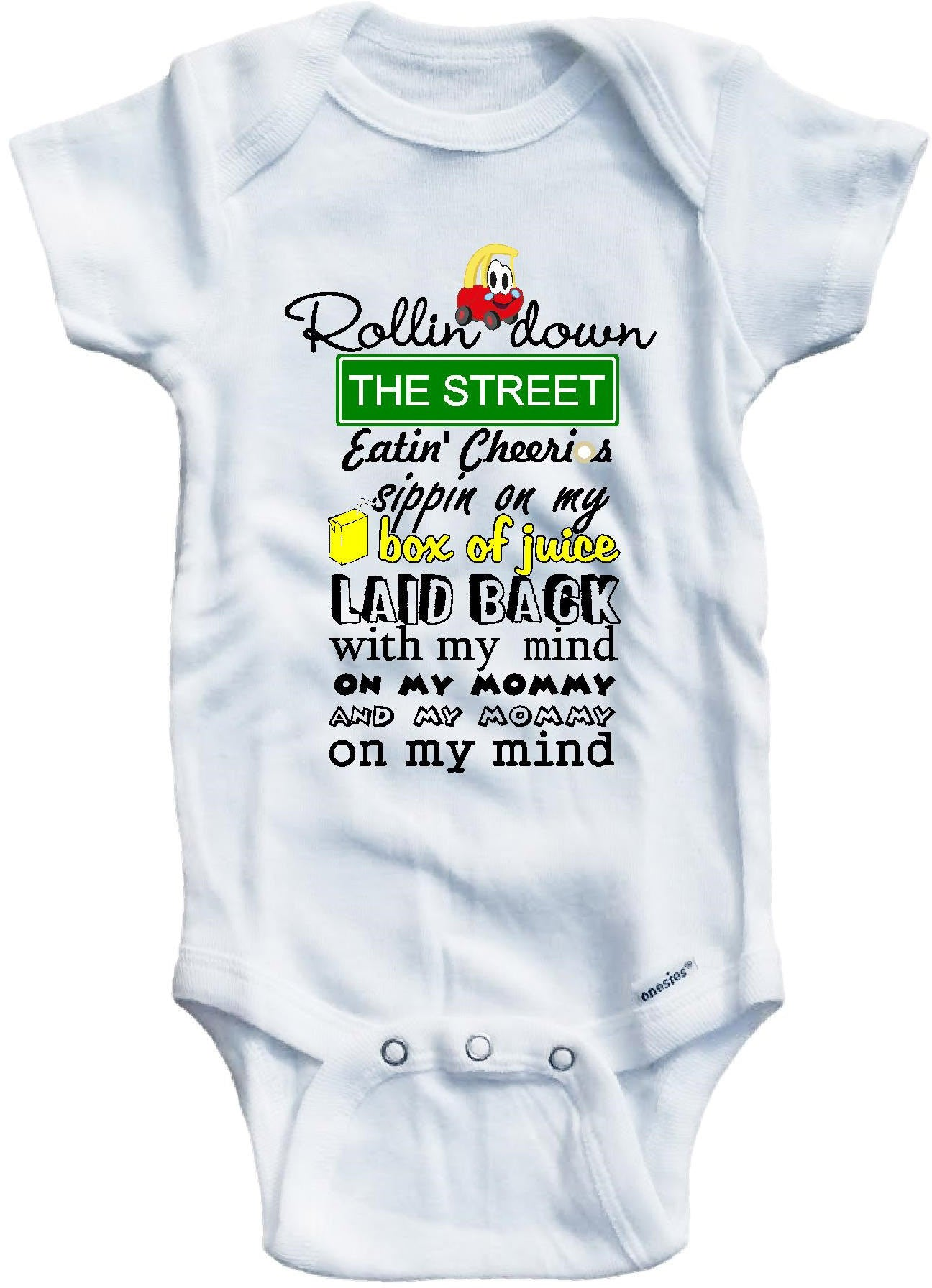 35e1b8fa5 Second version Rollin down the street funny baby onesie – Baby Tee Time