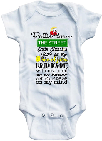 Second version Rollin down the street funny baby onesie