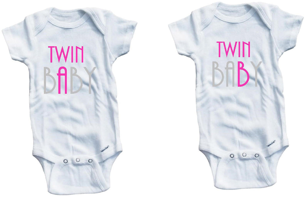 6316415bef6f 2 Twin baby A B cute funny baby clothes one piece set bodysuit ...