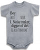 "Adorable Baby Tee Time ""Boy Noun Noise Maker, Digger of Dirt"" Baby clothes"