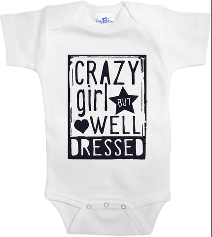 Adorable Baby Tee Time Crazy girl but well dressed popular Baby clothes