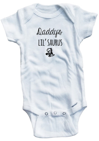 "Adorable Baby Tee Time ""Daddy's Lil' Saurus"" Baby Onesie"