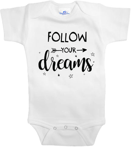 Adorable Baby Tee Time Follow your dreams one popular Baby one piece
