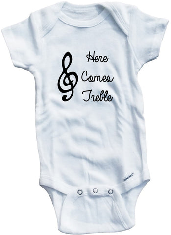 Funny Adorable Baby Tee Time Here Comes Treble Baby Onesie